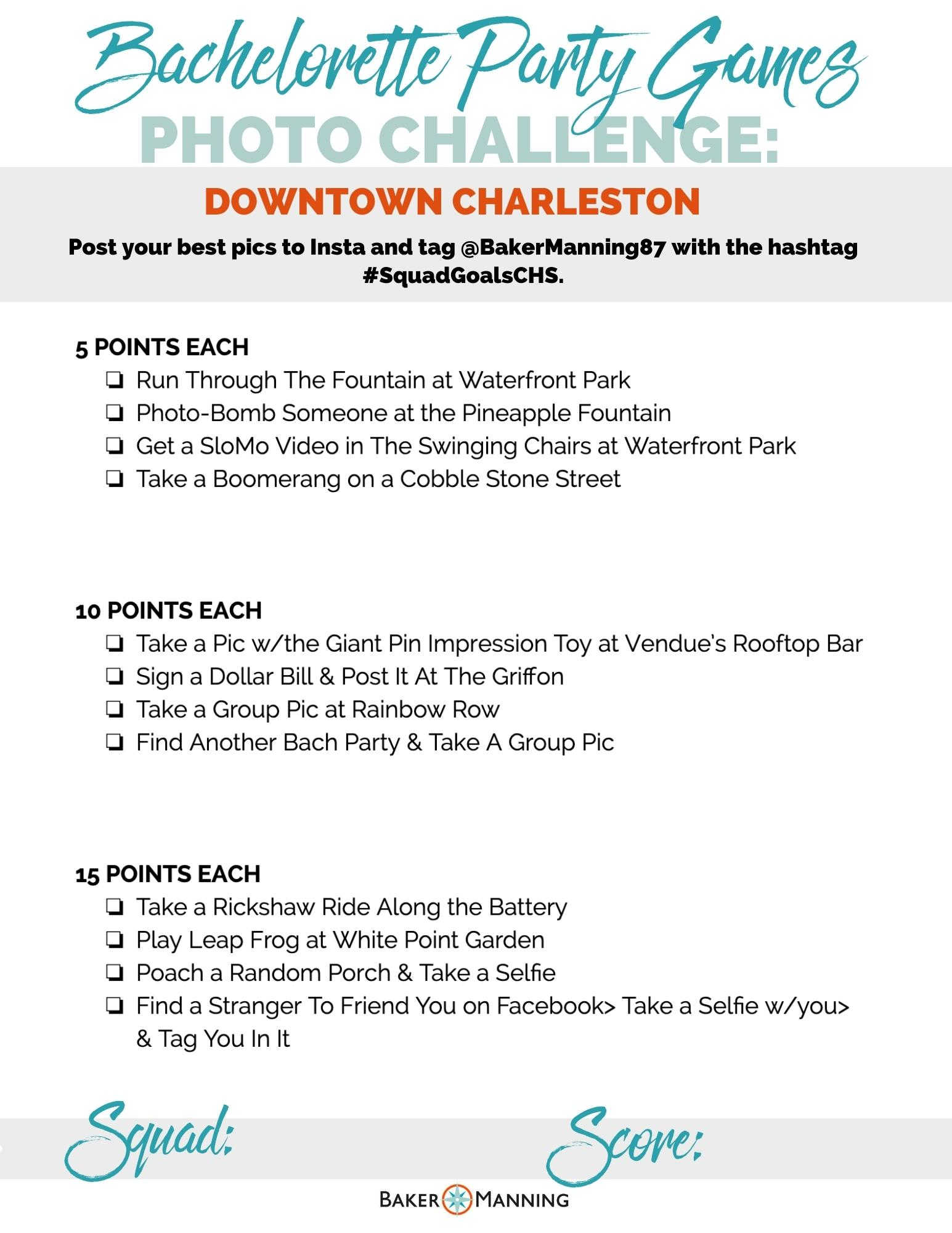 Charleston bachelorette party games, downtown charleston sc things to do.